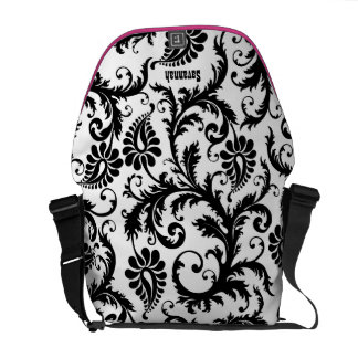 White Damask- You Choose Colors- Courier Bags