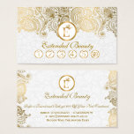 White  Damasks & Gold Paisley Lace Loyalty Card