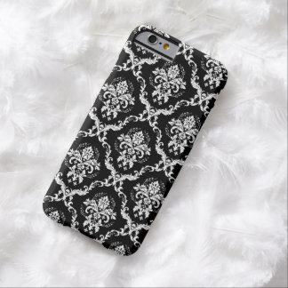 White Damasks Over Black Changeable Background Barely There iPhone 6 Case