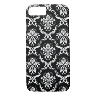White Damasks Over Black Changeable Background iPhone 8/7 Case