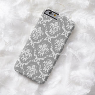 White Damasks Over Gray Changeable Background Barely There iPhone 6 Case