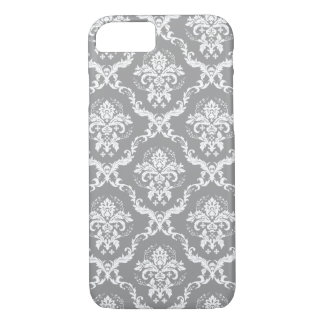 White Damasks Over Gray Changeable Background iPhone 8/7 Case