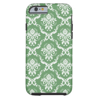 White Damasks Over Green Changeable Background Tough iPhone 6 Case