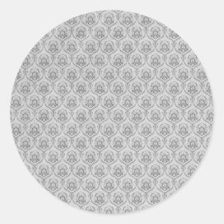 White Damasks Pattern BAckground Classic Round Sticker