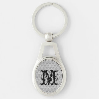 White Damasks Pattern BAckground Silver-Colored Oval Metal Keychain