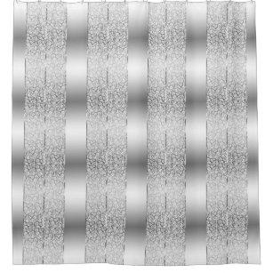 White Damasks Shiny Silver Stripes Shower Curtain