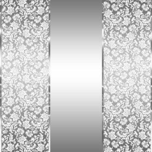 White Damasks & Shiny Silver Stripes Shower Curtain