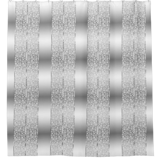 White Damasks Amp Shiny Silver Stripes Shower Curtain