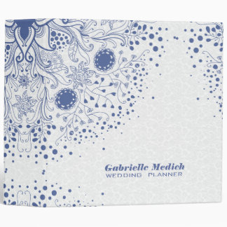White Damasks With Powder Blue Vintage Floral Lace Binder