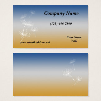 White Dandelion Blue Gold Business Card