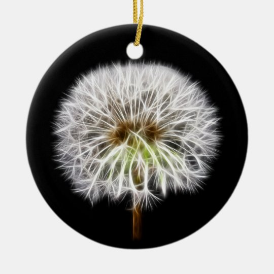 White Dandelion Flower Plant Ceramic Ornament