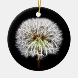 White Dandelion Flower Plant Double-Sided Ceramic Round Christmas Ornament