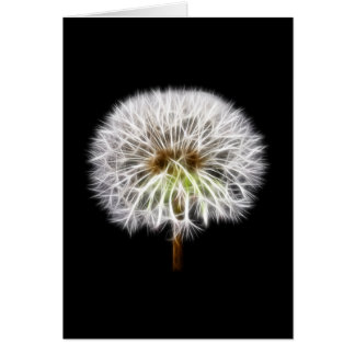 White Dandelion Flower Plant Greeting Card