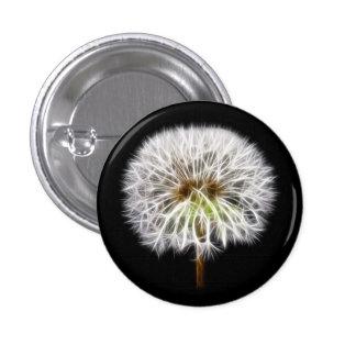 White Dandelion Flower Plant Pinback Button