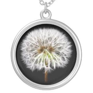 White Dandelion Flower Plant Round Pendant Necklace