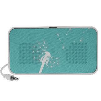 White dandelion on teal background portable speaker