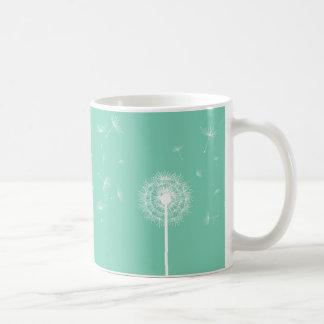 White Dandelion Silhouette Coffee Mug
