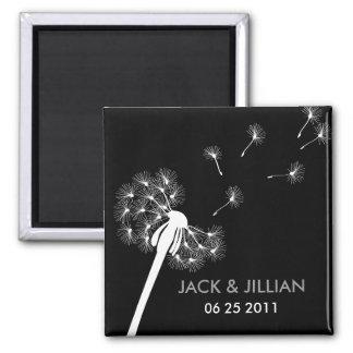 White Dandelion Wedding Favor Magnet