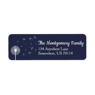 White Dandelion Wildflower & Navy Family Label