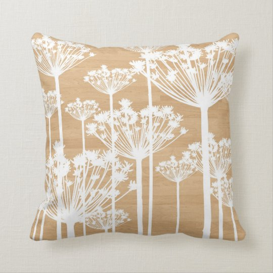 White Dandelions on Wood Texture Pillow