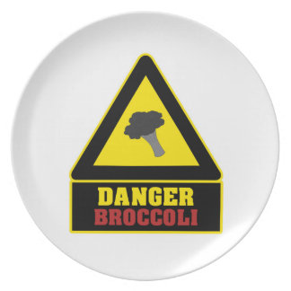 White Danger Broccoli Party Plate