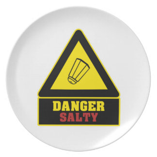 White Danger Salty Party Plate