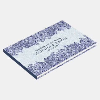 White & Dark-Blue Floral Paisley Lace Guest Book