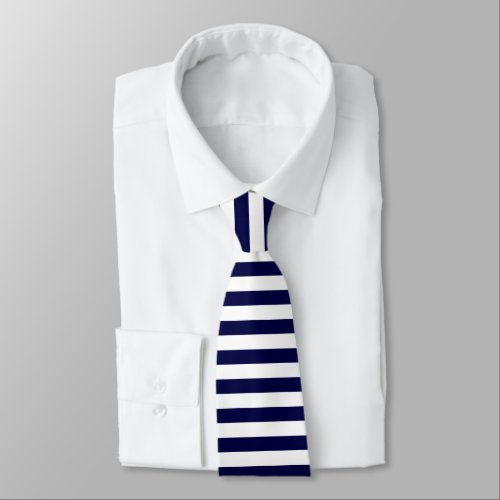 White & Dark Blue Horizontally-Striped Tie