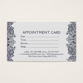 White & Dark Blue Paisley Lace Appointment Card
