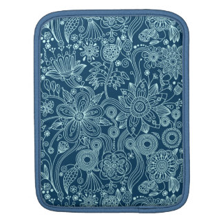 White & Dark Blue Retro Floral Pattern Sleeve For iPads