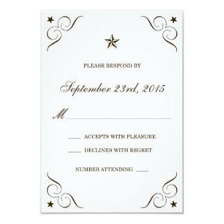 White & Dark Brown Lone Star Wedding RSVP Cards