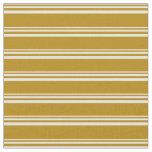 [ Thumbnail: White & Dark Goldenrod Pattern Fabric ]