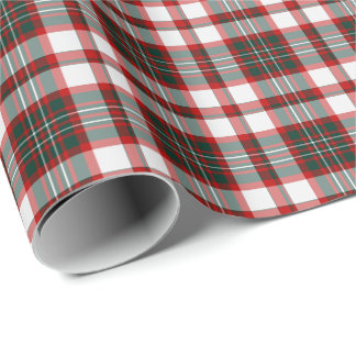 White, Dark Green, and Red Christmas Plaid Pattern Wrapping Paper
