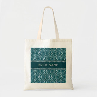White & Dark Green Damask Pattern-Custom Monogram Tote Bags