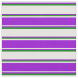 [ Thumbnail: White, Dark Violet & Green Stripes/Lines Pattern Fabric ]