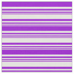 [ Thumbnail: White & Dark Violet Striped Pattern Fabric ]