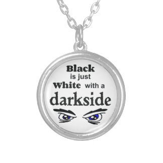 White darkside bf silver plated necklace
