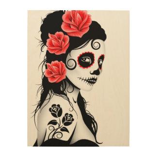 White Day of the Dead Sugar Skull Girl Wood Wall Art