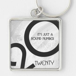 White Decade 20th Birthday Keychain