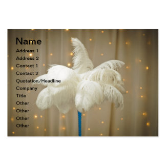 White decor feathers large business cards (Pack of 100)