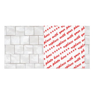 White Decorative Marble Tile Background Personalized Photo Card