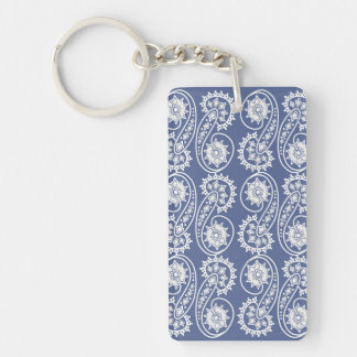 White Decorative Paisley Pattern On Blue Keychain