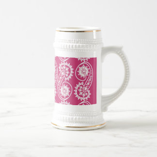 White Decorative Paisley Pattern On Pink Beer Stein