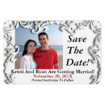 White Decorative Save The Date Or... Photo Magnets