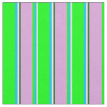 [ Thumbnail: White, Deep Sky Blue, Lime, Plum & Dark Green Fabric ]