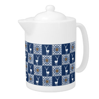 White Deer and Floral Squares Pattern Teapot