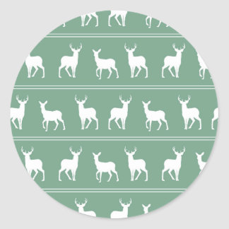 White Deer and Stag pattern on Acapulco Green Classic Round Sticker