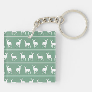 White Deer and Stag pattern on Acapulco Green Keychain