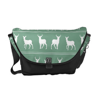 White Deer and Stag pattern on Acapulco Green Courier Bag