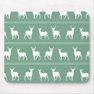 White Deer and Stag pattern on Acapulco Green Mouse Pad